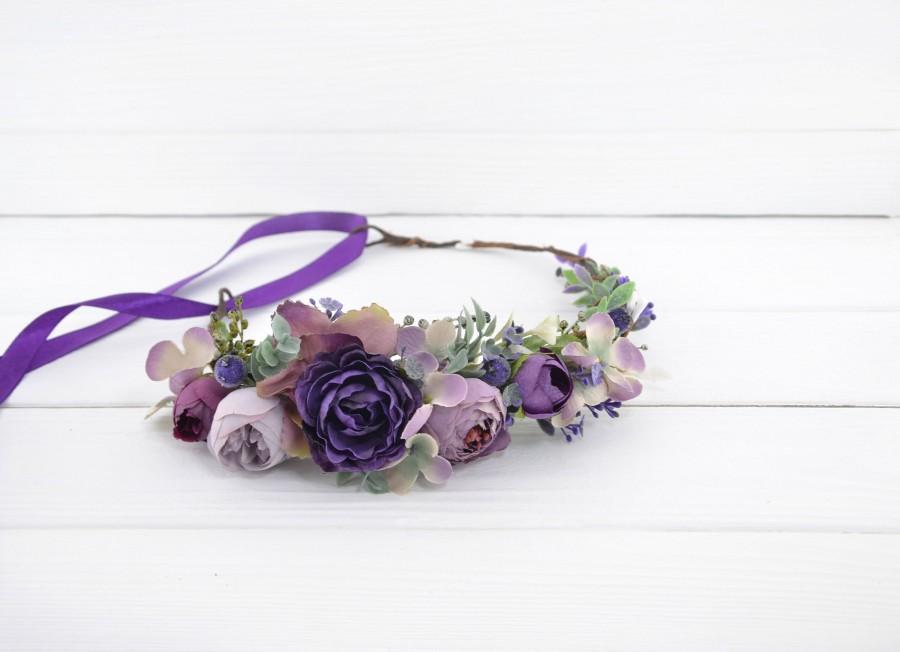 Mariage - Flower crown headband wedding Purple wedding flower crown Plum flowers hair Bridal hair floral crown Wedding floral halo Rustic hair wreath