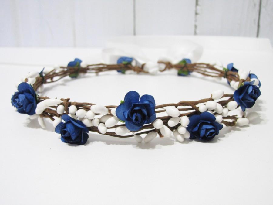 Mariage - Wedding Floral Crown, Navy Blue Flower Headband, Blue Flower Headpiece, Wedding Headband, Bridesmaid Floral Crown, Flower Girl Floral Crown