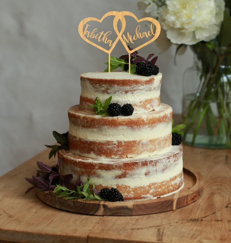 Hochzeit - Two Hearts Cake Topper - Elegant Wedding, Rustic Wedding, Silver/ Gold cake topper