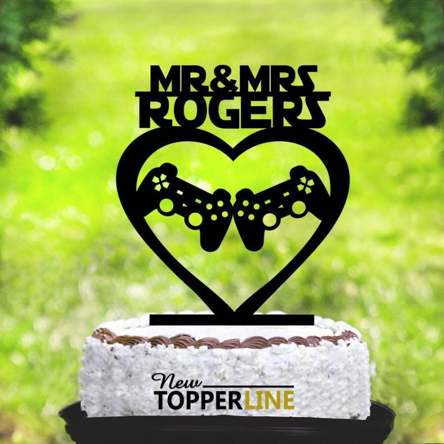 Mariage - Gamer cake topper wedding, Gaming Video Game Controller Cake Topper, Gaming party cake topper,Mr & Mrs Cake Topper,Custom cake topper (2194)