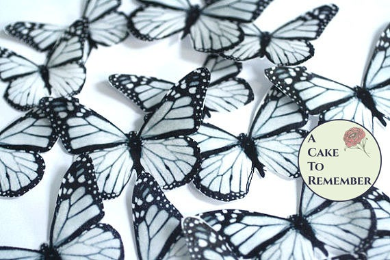 Mariage - Edible butterflies, 12 black and white edible wafer paper monarch butterflies for cake decorating, cupcake decorating. butterflies for cakes