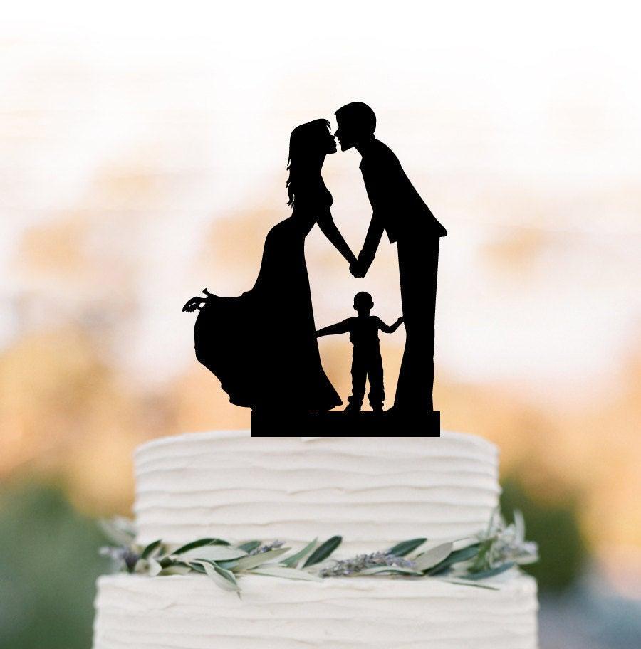 Wedding - Family Wedding Cake topper with boy, wedding cake toppers silhouette, funny wedding cake toppers with child Rustic edding cake topper