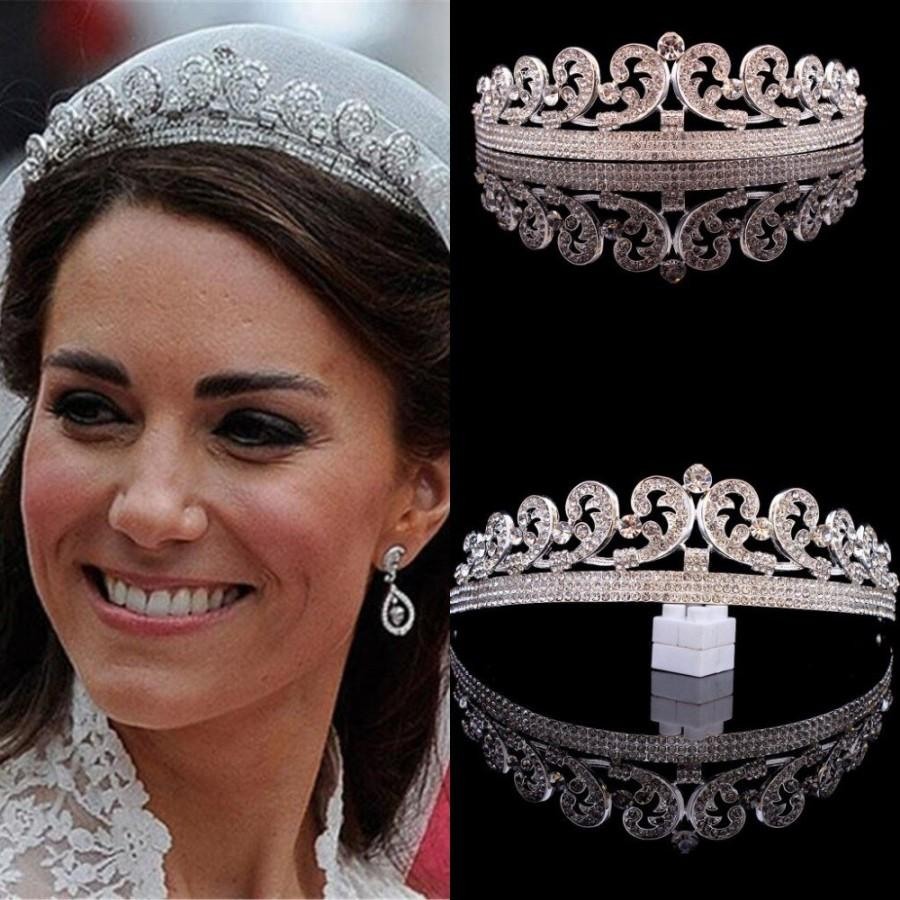 Mariage - Princess Kate Middleton Tiara Bridal rhinestone crown Royal tiara replica 1920s headpiece Silver Princess diadem Bridal headpiece
