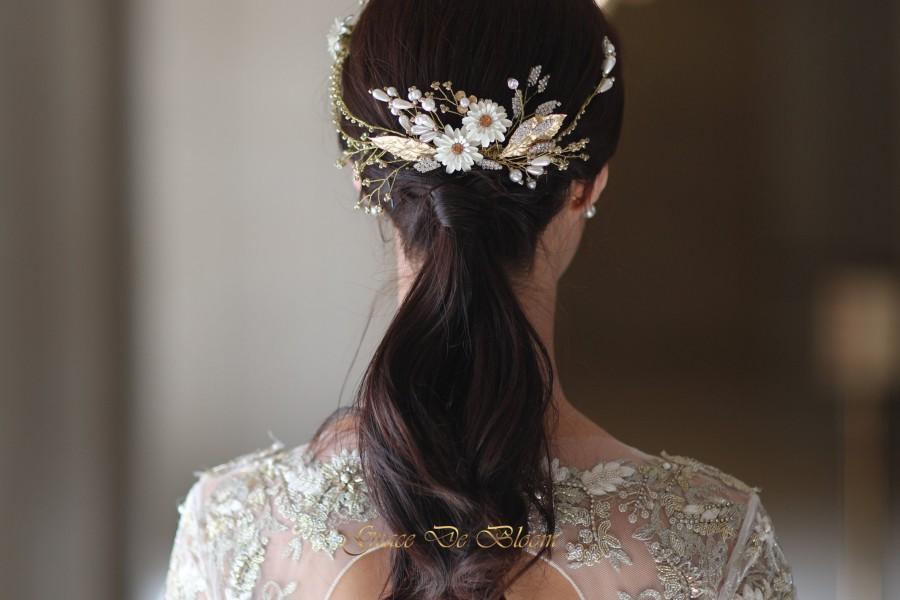 Mariage - LYDIA - Gold wedding accessories - Bridal hair piece - Royal wedding - Swarovski headpiece