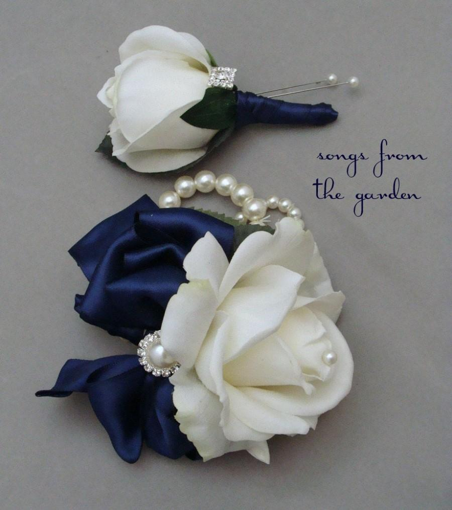 Hochzeit - White Navy Real Touch Rose Wedding Boutonniere & Corsage with Rhinestone Pearl Accents - Mother of the Bride Prom Homecoming Corsage