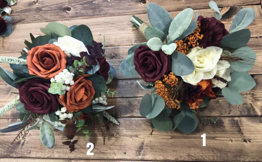 Свадьба - Burnt Orange, Burgundy and Ivory Boho Bouquet, Boutonnière, Hair Comb and Corsage, Real touch foam roses