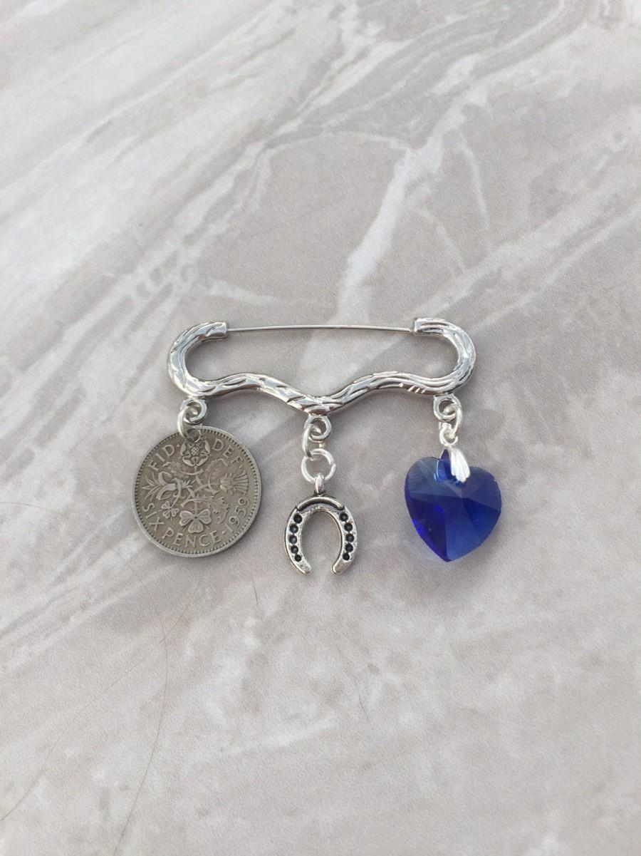 Wedding - Sixpence bridal pin, Something old, new, borrowed and blue, garter pin, lucky sixpence, bridal gift, bridal pin