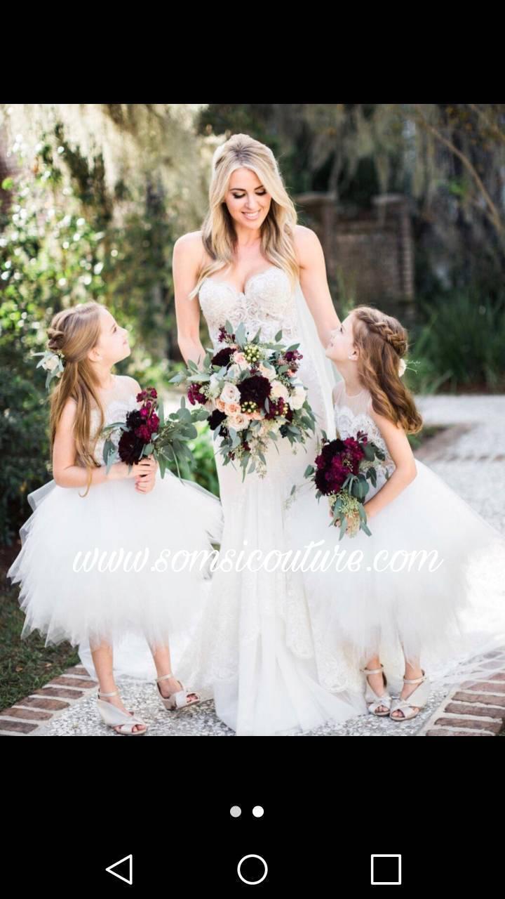 "زفاف - Adorable flower girl dress ""Calla"", tan top/ diamond white lace and tulle. rhinestone sash.made in TX USA"