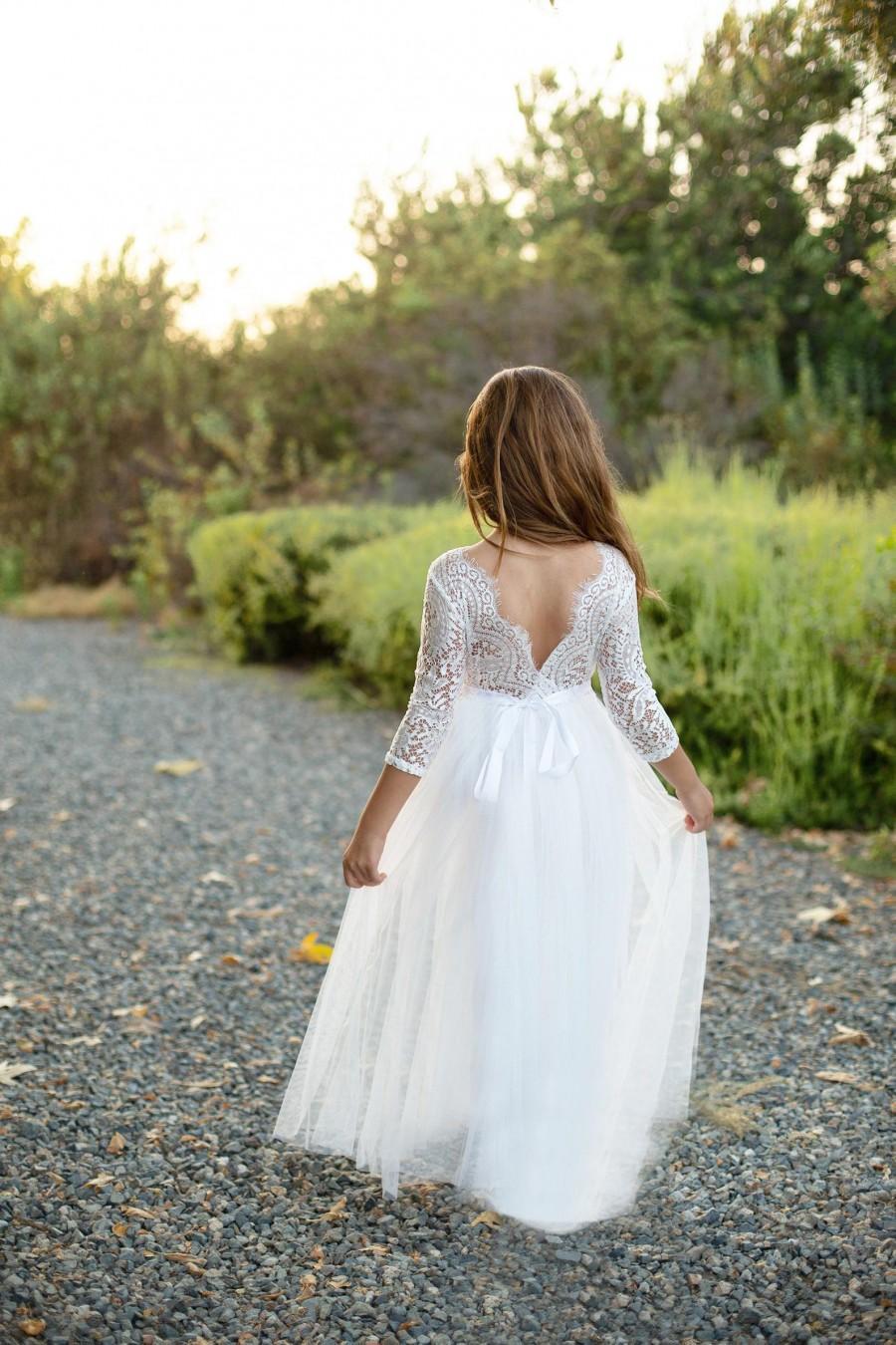 Hochzeit - Bohemian Boho Flower girl dress , Long sleeve flower girl dress, Tulle flower girl dress, Rustic flower girl dress, Boho flower girl dress