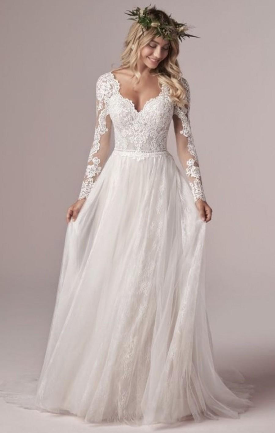 Mariage - Lace Design Long Sleeve Floor Length Bridal Gown, Floor Length Wedding Dress