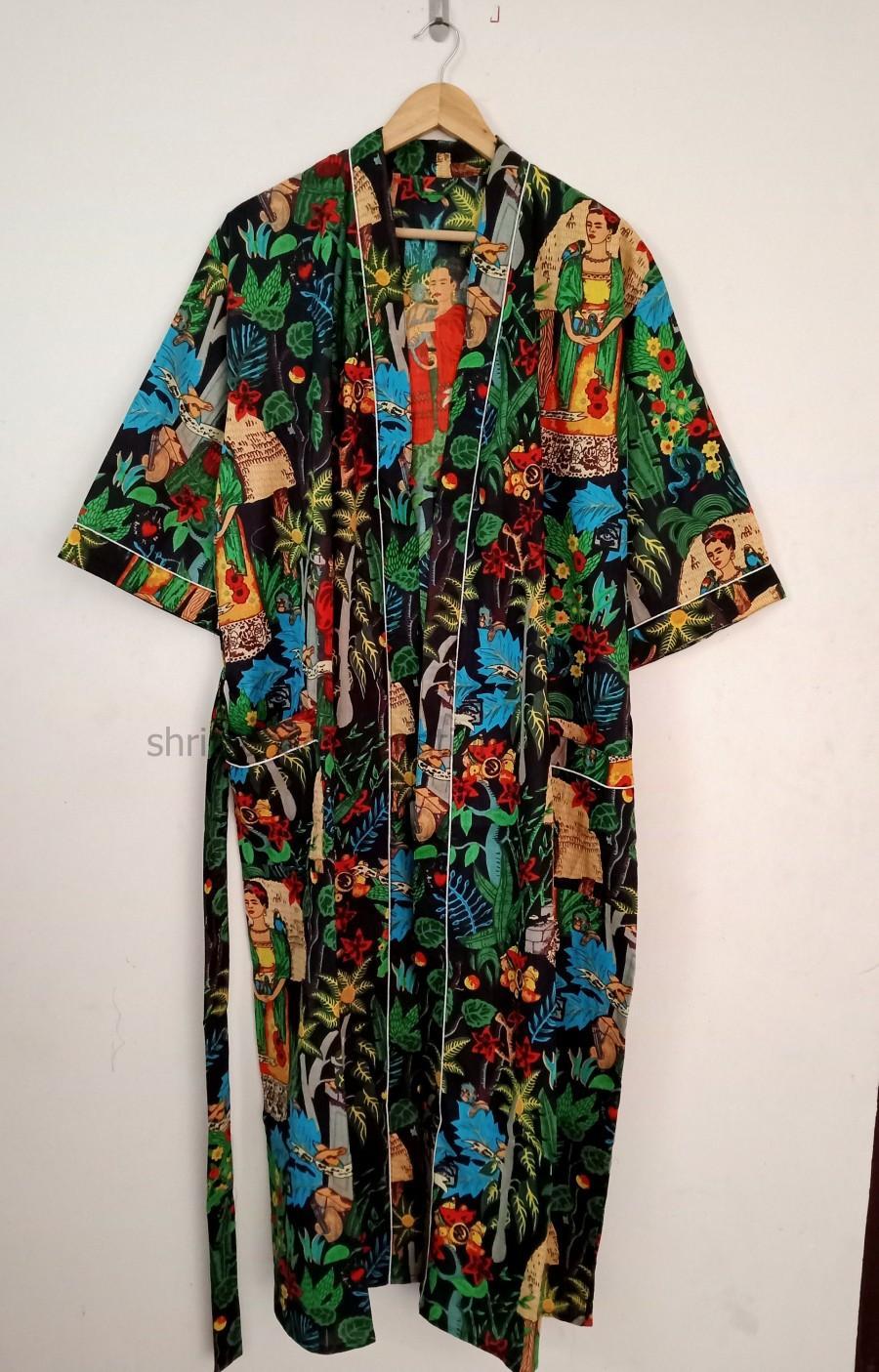 Wedding - FRIDA KHALO  indian handmade kimono 100% cotton bath robe,kimono,night robe, women wear kimono