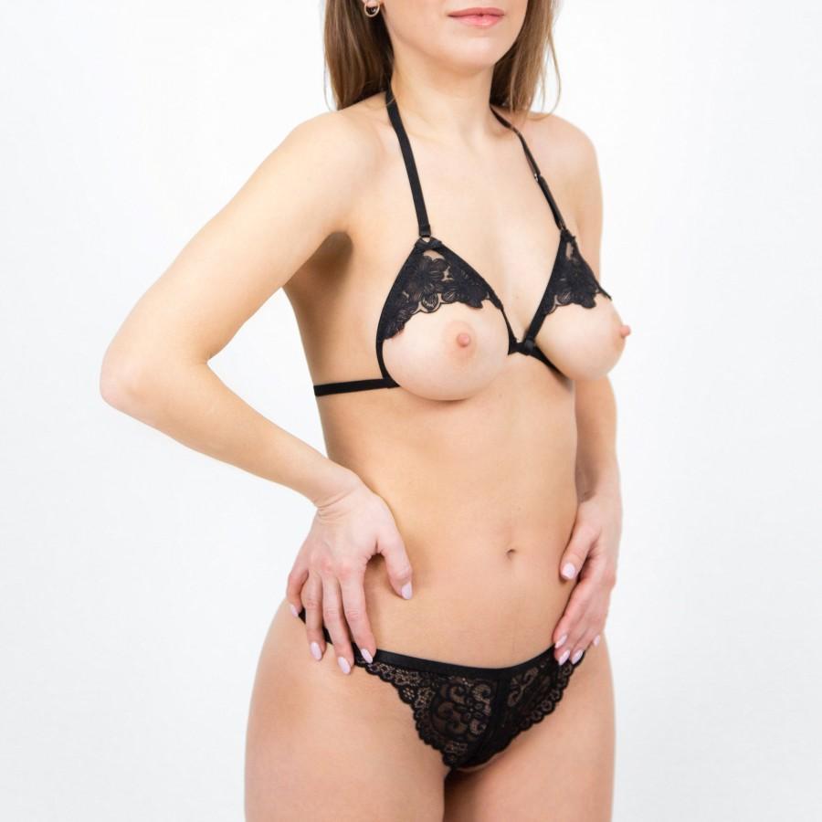 Wedding - Black Open Crotchless Lingerie Set- Cupless Bra- Open Back Panties- Ouvert Lingerie- Erotic Black Set
