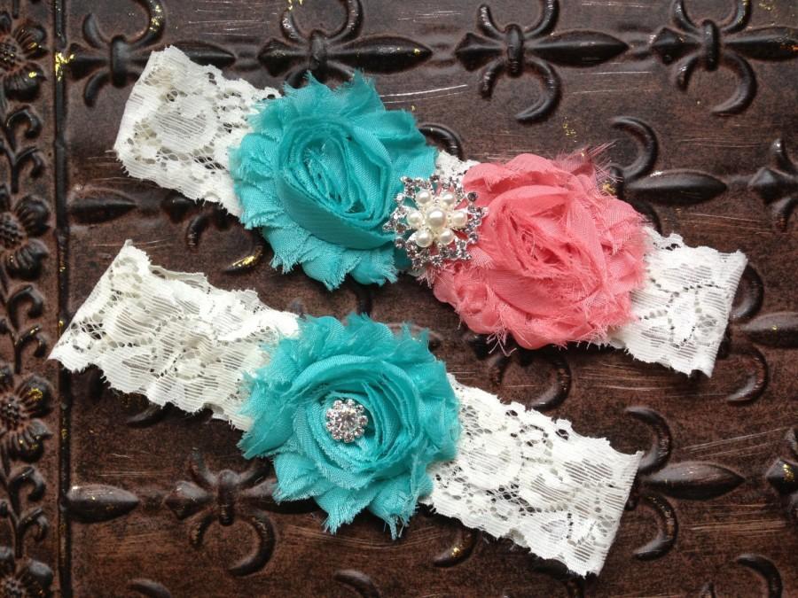 Wedding - Coral Wedding Garter, Coral Wedding Garter Set, Lace Wedding Garter, Coral Turquoise Garter, Coral Garter, Turquoise Bridal Garter