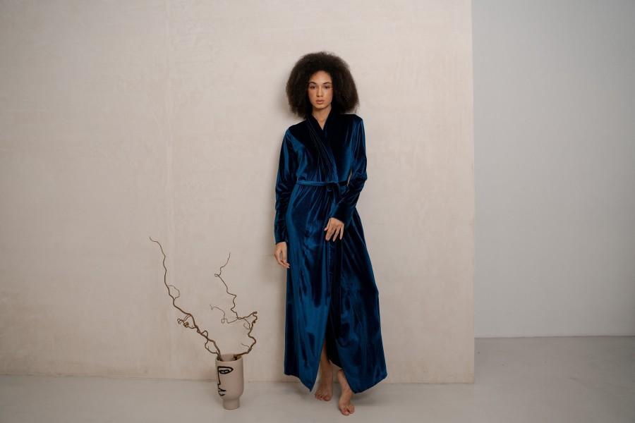 Wedding - Velvet Long Robe Teal, womens velvet robe, long bridesmaid robe, bridesmaid robe, floor length robe,bridesmaid robes set