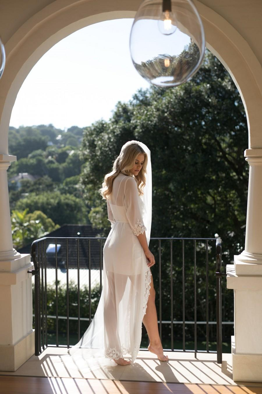 Wedding - Lace Trim Maxi Including Slip / Lace Bridal Robe / Bridesmaid Robes / Robe / Bridal Robe / Bride Robe / Bridal Party Robes / IRIS