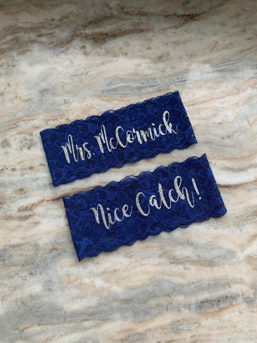 Wedding - Personalized Navy gold garter set, wedding lingerie, something blue lace monogram garter, bride lingerie gift for her, custom garter