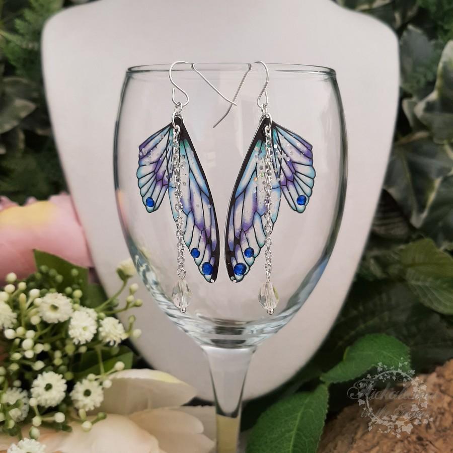 Hochzeit - Dazzling Blue, Purple & Turquoise Fairy Wing Earrings on Sterling Silver Ear Hooks/Wires - Faerie Dangly Earrings
