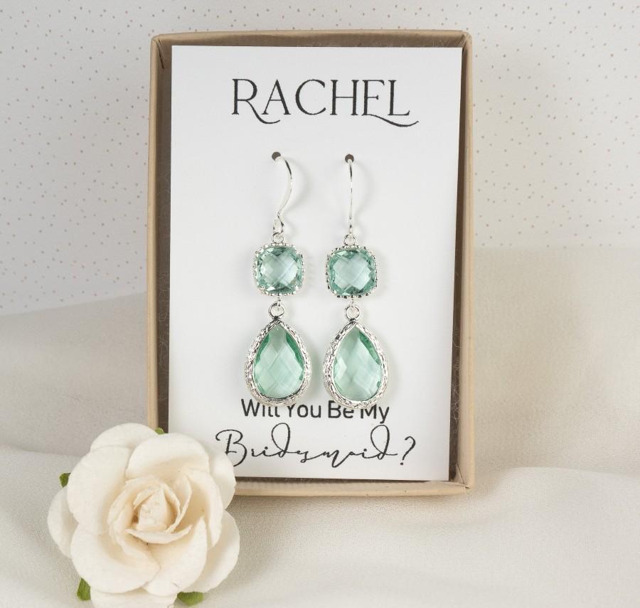 Mariage - Long Green Silver Earrings - Sage Green Wedding - Prasiolite Earrings - Bridesmaid Earrings - Green Wedding Jewelry - Green Earrings