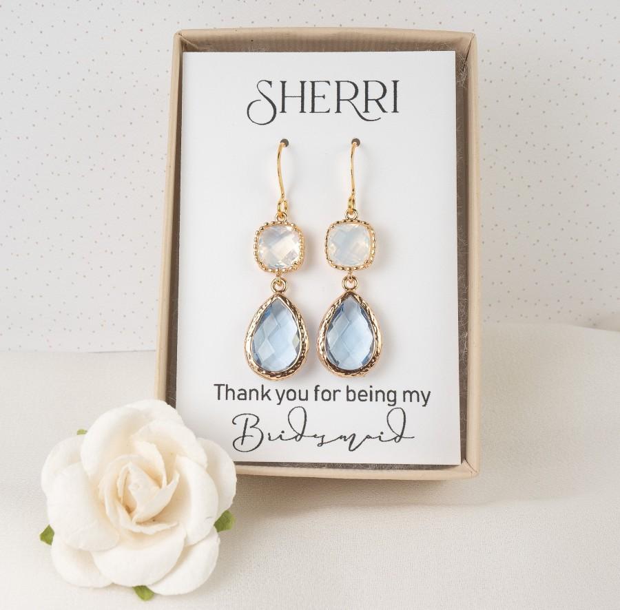 Hochzeit - Long Light Blue Bridesmaid Earrings - Dusty Blue Earrings - White Opal Teardrop Earrings - Bridesmaid Jewelry - Blue Wedding Jewelry