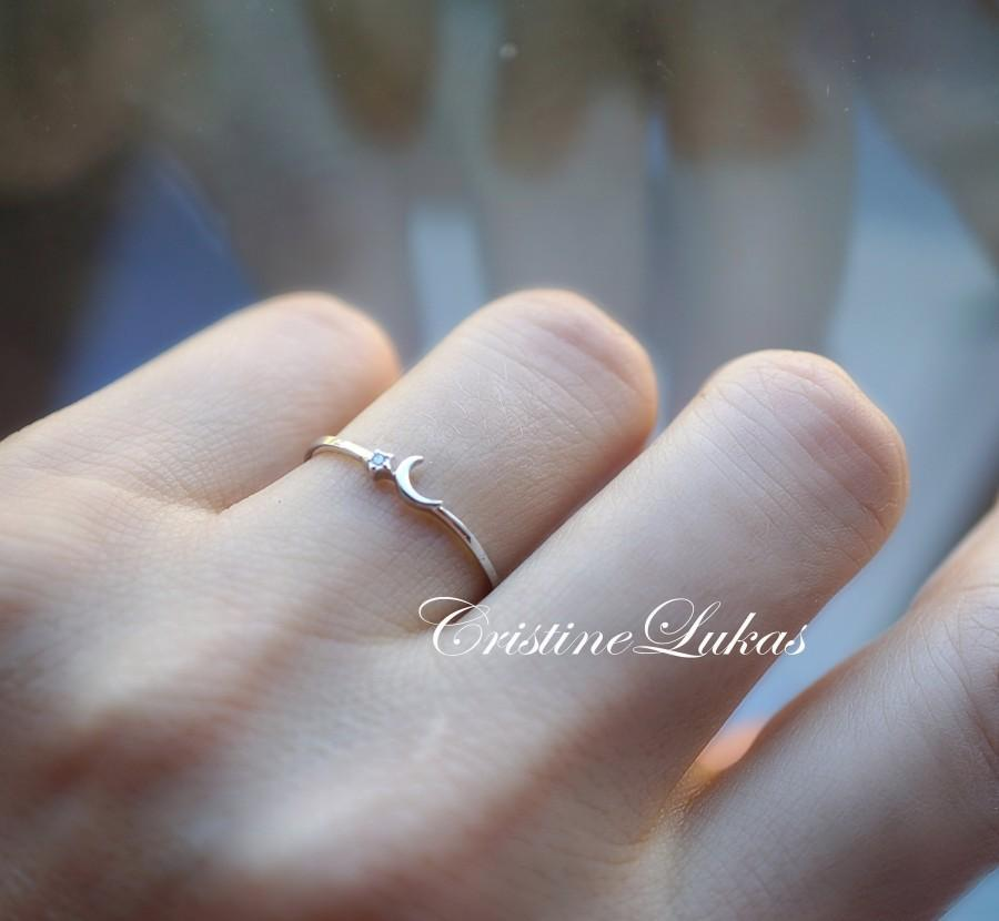 Hochzeit - Dainty Moon & Star Ring With Cubic Zirconia Stone in Sterling Silver - Minimalist Ring, Stacking Ring