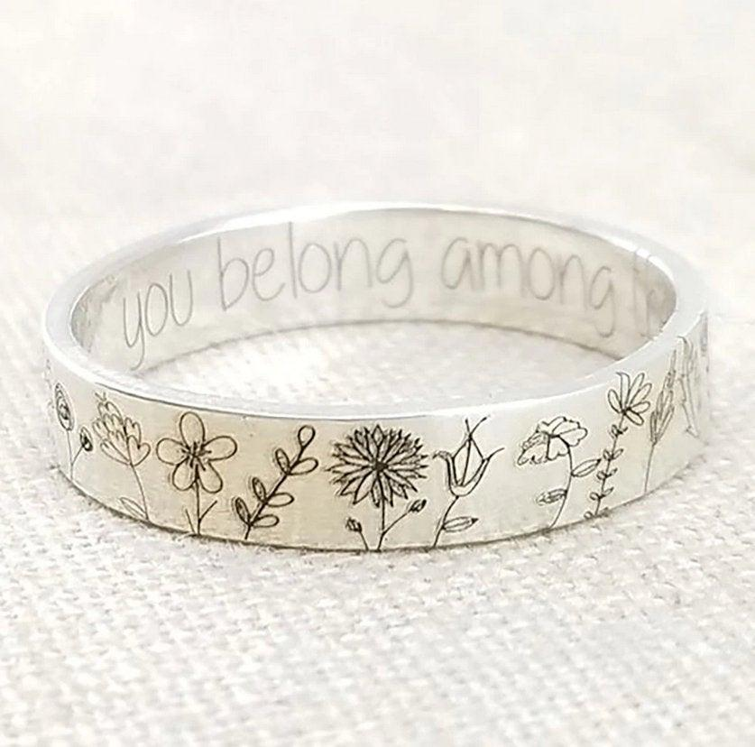 Wedding - 925 Sterling Silver 'Among the Wildflowers' Ring // Polished Friendship Flower Daisy Dainty Simple Carved Bohemian Hippie Floral Boho