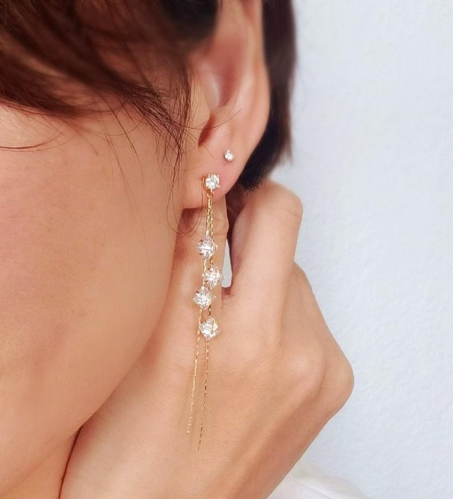 زفاف - CZ Long Drop  Earrings. Threader earrings. Gold Chain Earrings.  Dangle Earrings. Bridal Earrings. Crystal Rhinestones Drop Earrings. Stud
