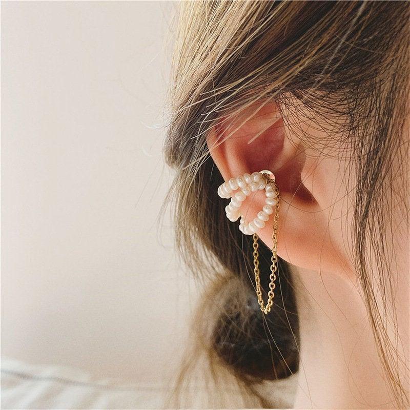 Wedding - Pearl Ear Cuff No Piercing Delicate Fresh Pearl Magnetic - 18KGold Fake Piercing Hot Trend