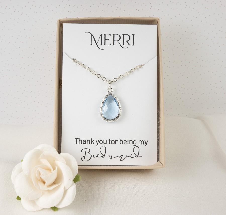 زفاف - Blue Bridesmaid Necklace - Light Blue Silver Necklace - Dusty Blue Necklace - Blue Wedding Jewelry - Bridesmaid Jewelry - Teardrop Necklace