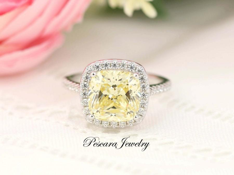 زفاف - 3 Carat Canary Yellow Cushion Halo Engagement Ring, Yellow Cushion Cut Ring, Wedding Ring, Promise Ring, Sterling Silver, Made to order