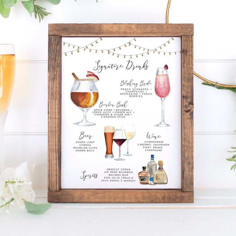 Hochzeit - Design Your Own! 150 Drink Images + Garnishes, Signature Drinks, Rustic Bar Menu Template, Signature Cocktail Sign, Drink Menu Printable