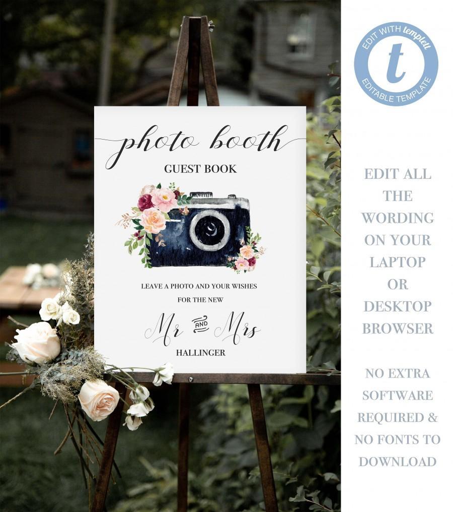 Hochzeit - Editable Wedding Photo Booth Sign