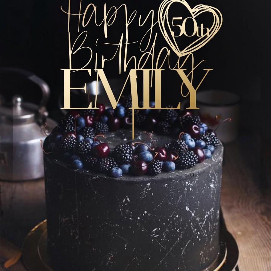 Hochzeit - Cake Topper Birthday Custom Personalized Name and Age Happy Birthday Cake Topper - Birthday.