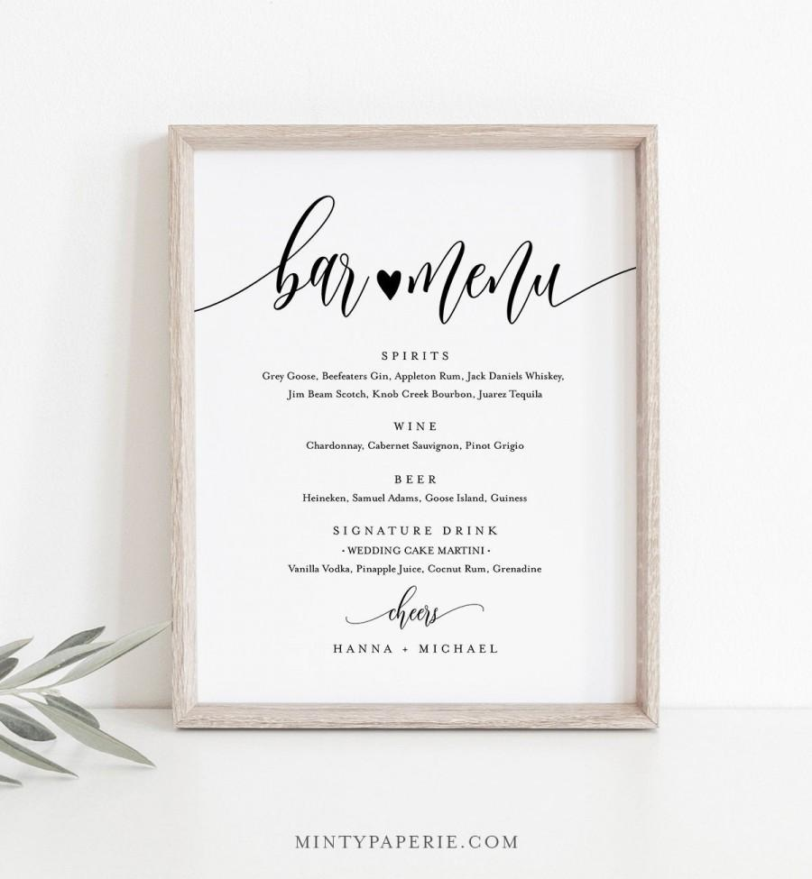 Mariage - Bar Menu Sign, Editable Wedding Bar Menu Template, Alcohol Drinks Menu, Modern Calligraphy, Instant Download, Templett 8x10, 18x24 #008-19S