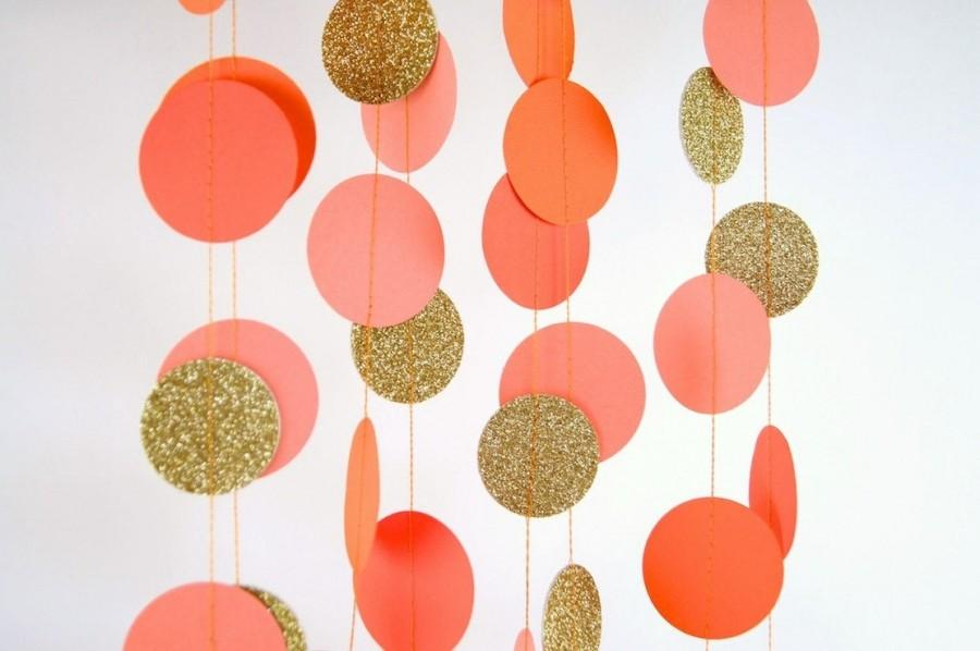 Mariage - Orange Party, Paper Garland in Orange, Coral, Tangerine and Gold, Double-Sided, Bridal Shower, Party Decorations, Birthday Decoration