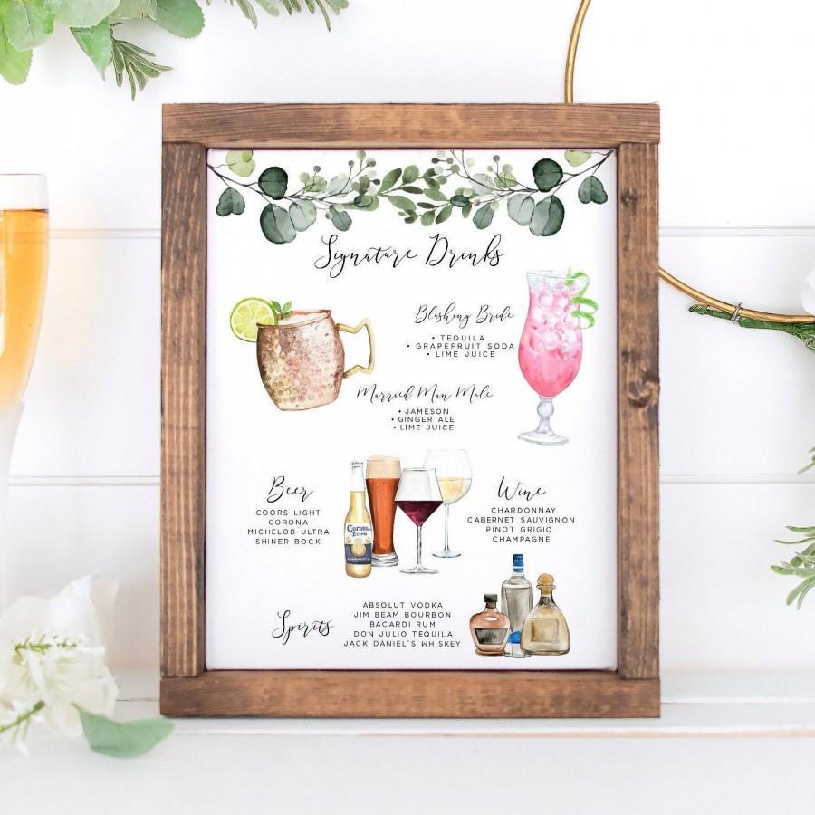 Hochzeit - Signature Drinks Sign, Editable Signature Cocktails Template, Bar Menu Sign Template, Signature Drinks Sign, 150 Drink Images, Greenery