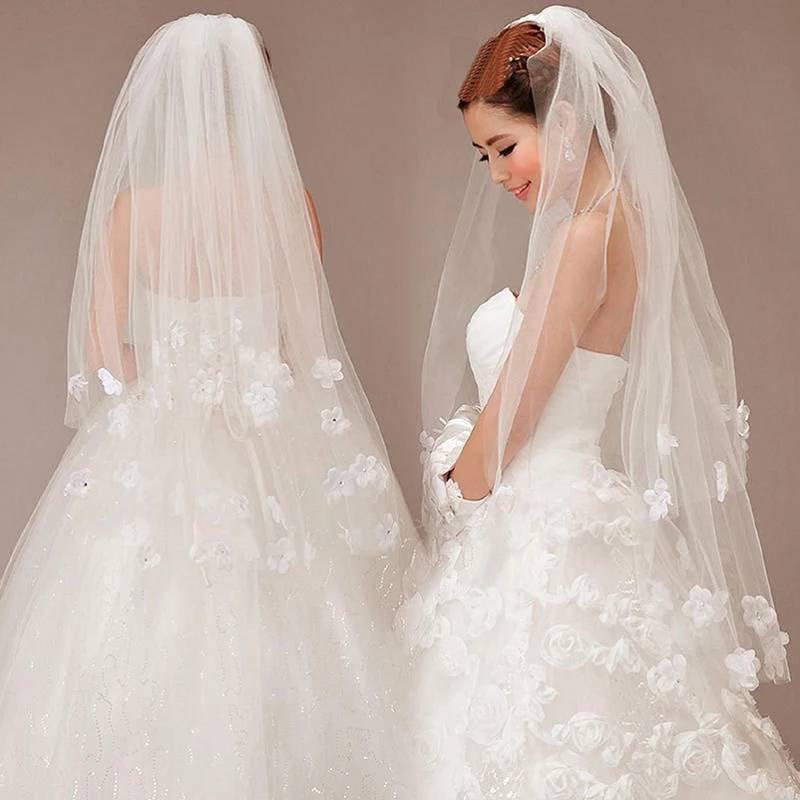 Wedding - Ivory Wedding Veil with 3D Flowers & Cyrstals-Floral Brides Veil-Ivory Veil-Tulle Veil Wedding with comb-Brides veil with crystals-Veils