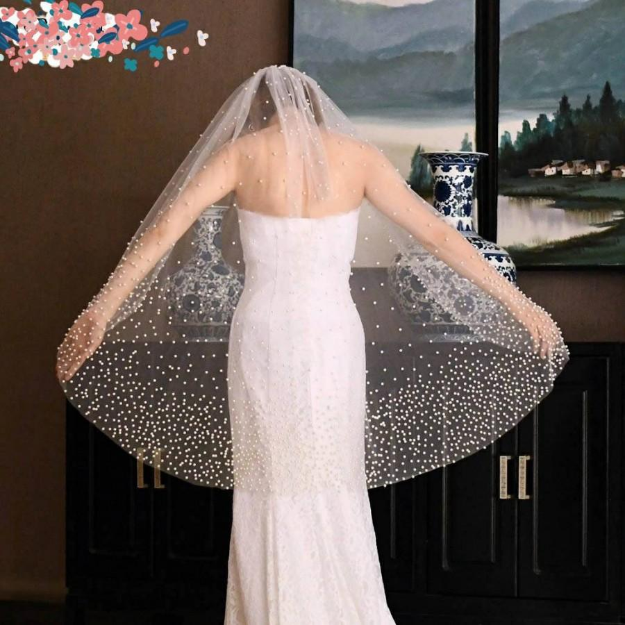 Mariage - Wedding Veil with pearls/ Bridal Veil/ Ivory Veil/ Tulle Brides Veil/ Wedding Veil with comb/ White Wedding veil/ Pearl Wedding Veil 100 cms