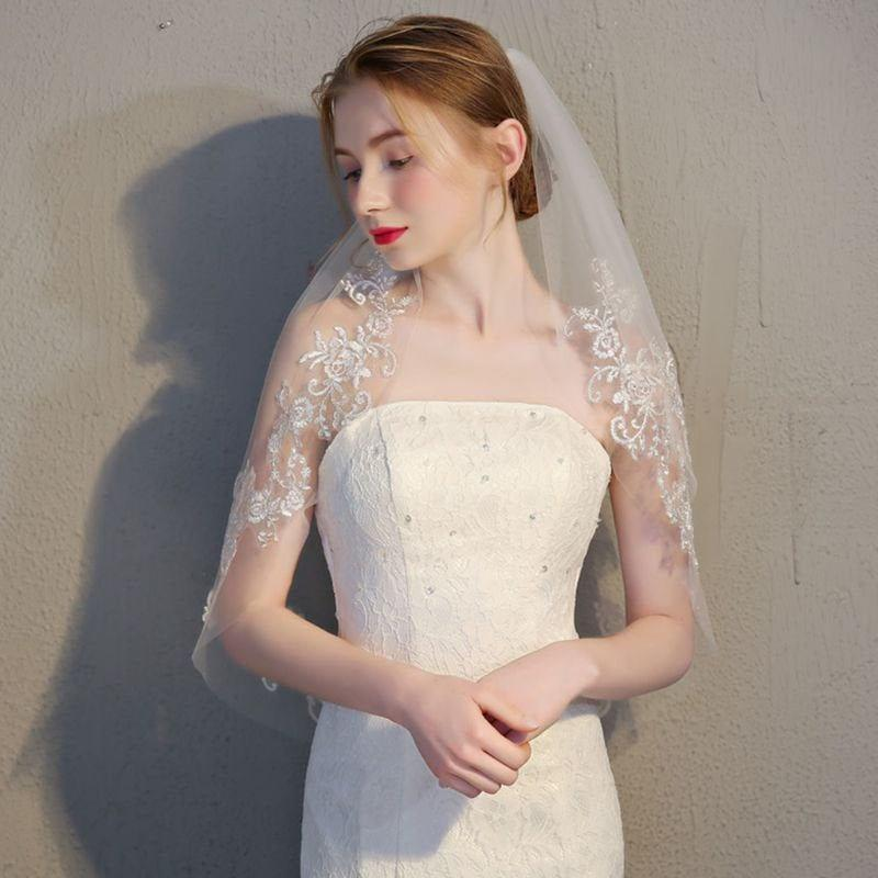 Wedding - Ivory Cream Tulle 2 Layer Bridal Veil With Floral Lace Detail