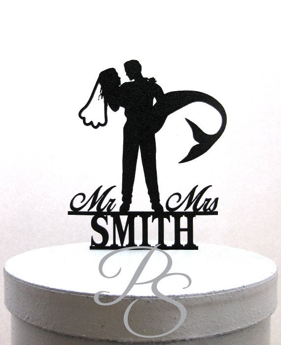 Свадьба - Personalized Wedding Cake Topper - Mermaid Wedding Cake Topper, Mermaid Bride silhouette with Mr & Mrs name