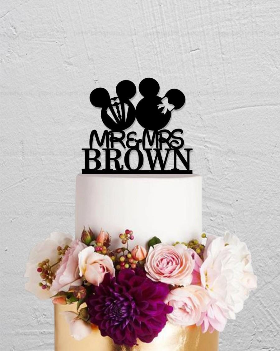 Свадьба - Micky Mouse Cake Topper,Wedding Cake Topper,Custom Cake Topper,Disney Cake Topper,Last Name Cake Topper,Mr And Mrs Cake Topper