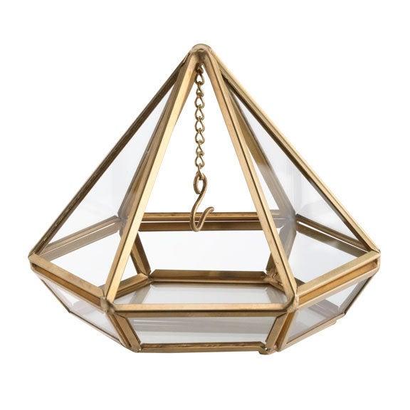 Wedding - The door rings terrarium prism gold or copper