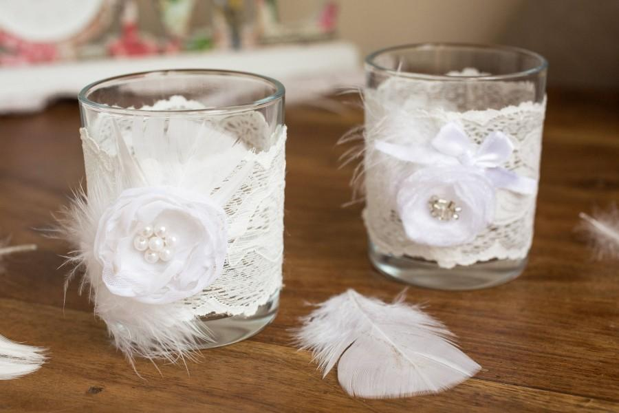 Mariage - 2 Wedding candle holders, 2 glass white candle holders, Wedding table decoration, Set of 2 glass wedding candle holders, Rustic decor