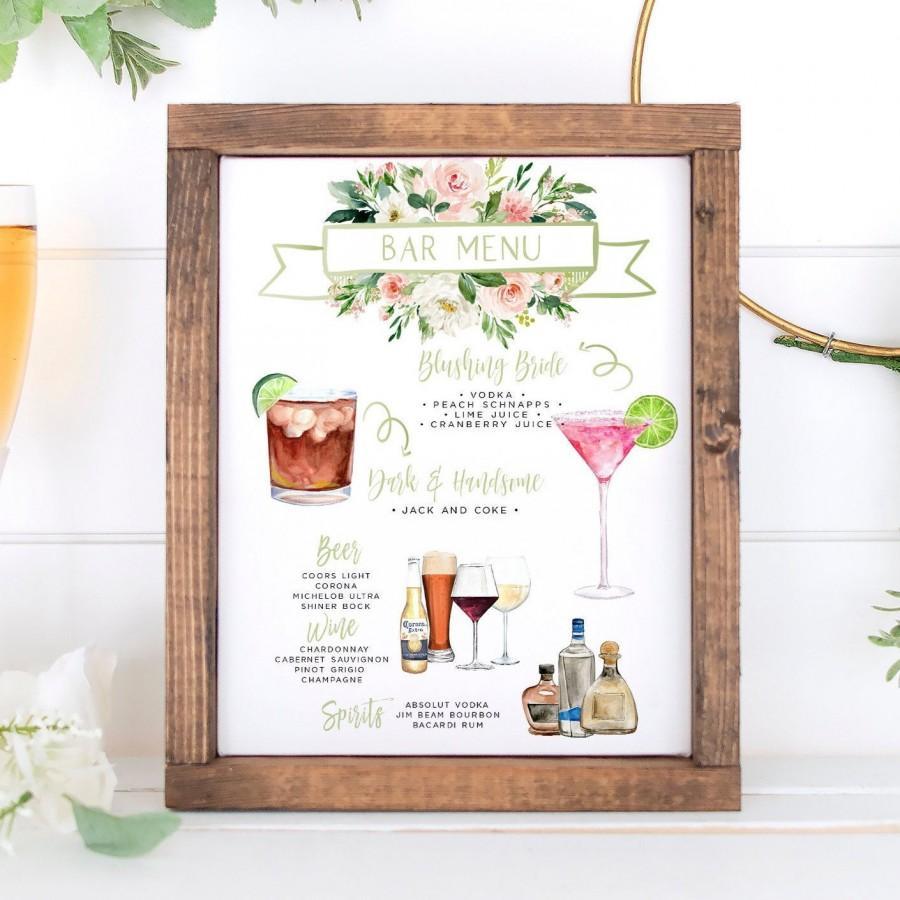 Mariage - Signature Drinks Sign, Pink Floral Signature Cocktails Template, Editable Bar Menu Sign, Signature Drinks Sign, 150+ Drink Images, Greenery