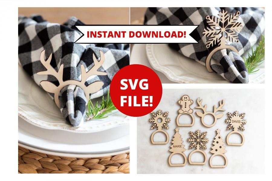 Mariage - Napkin Ring SVG, Christmas Napkin Ring svg, Napkin Holder svg, Glowforge SVG File, Table Setting svg, Holiday SVG, Christmas svg napkin
