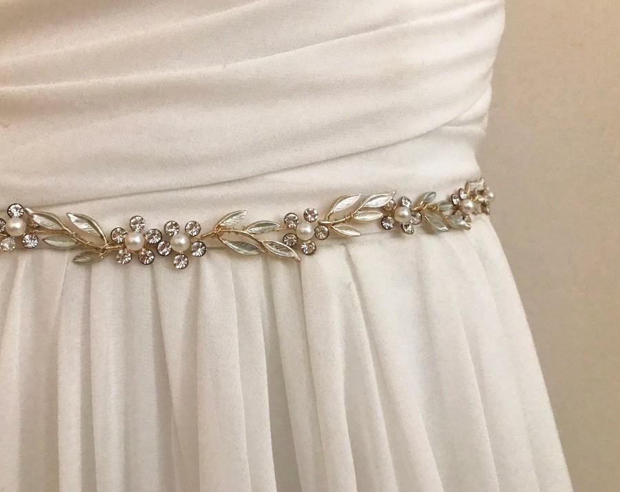 Mariage - Gold Crystal Pearl Vine Bridal Wedding Sash /  Flower Leaf Bridal Belt / Crystal Leaf Wedding Belt  /  Floral Sash / Necklace Earring Set
