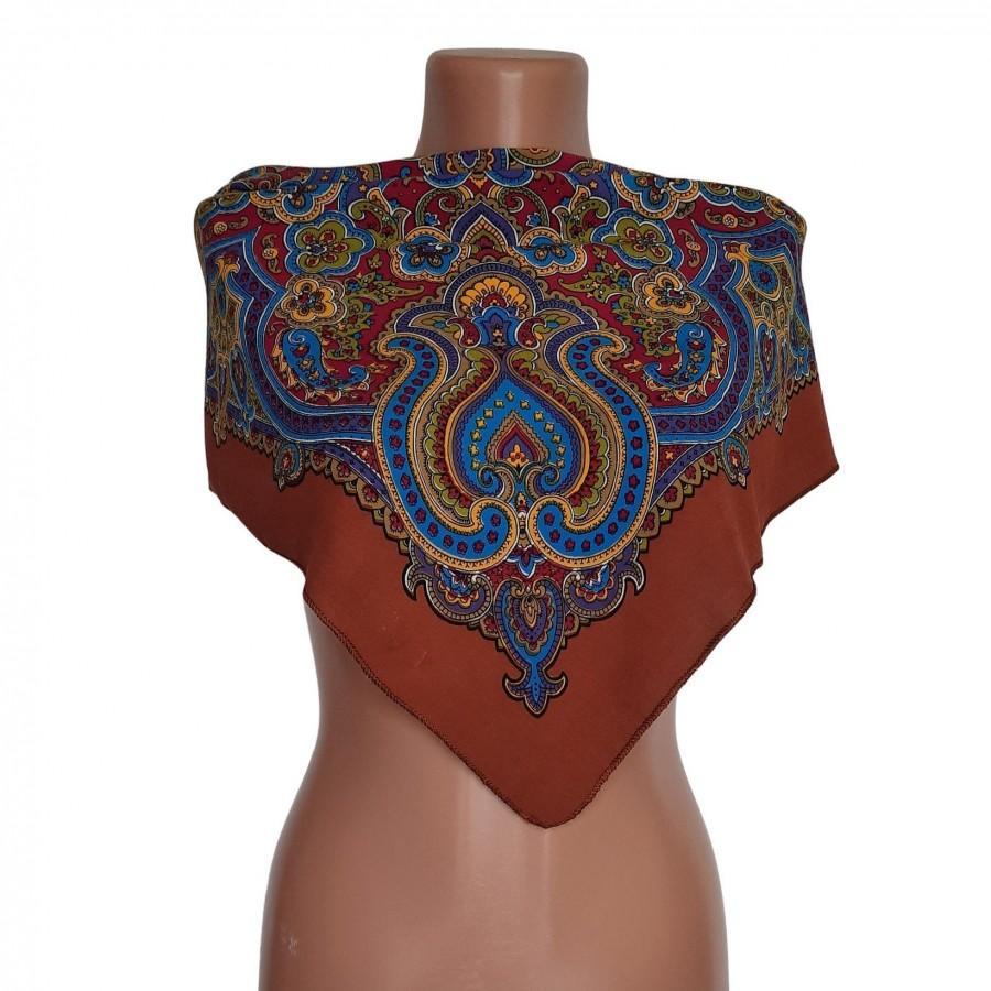 Hochzeit - Russian Wool brown Shawl 27.5*24.8 In, women birthday gift, shawl, scarf, hair scarf, head scarf, silk scarf, neck scarf mask,  scarf mask