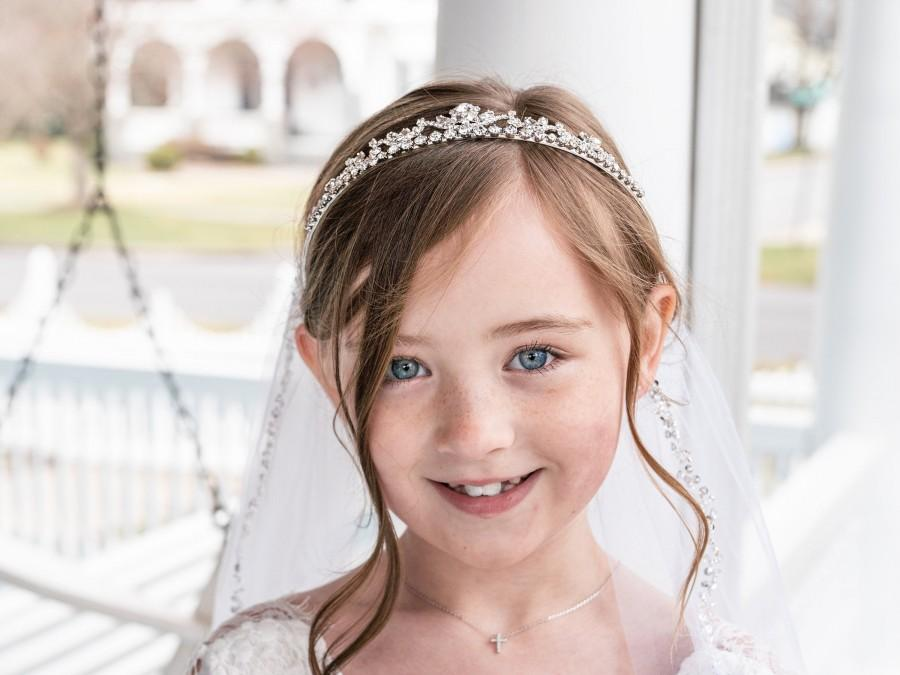 Hochzeit - Flower Girl Tiara, Crystal Tiara, wedding headpiece, rhinestone tiara, rhinestone, first communion tiara, Bryce Flower Girl Tiara