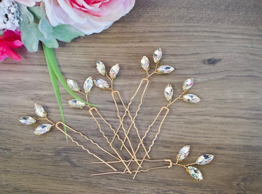 Hochzeit - Crystal Hair pins Bridal hair pins Crystal Wedding hair pins Gold Bridal hair pins Silver Wedding hair pins Bridesmaids hair pins Crystal