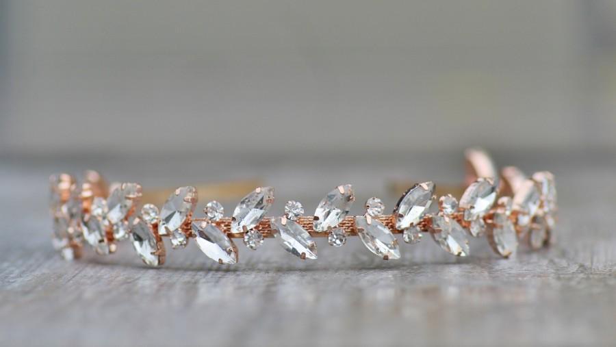 Свадьба - STUNNING Rose Gold Large Marquise Crystal Bridal Headband,Rose Gold Clear Crystal Rhinestone Head Band,Under 50,Weddings,Bridal Headpiece