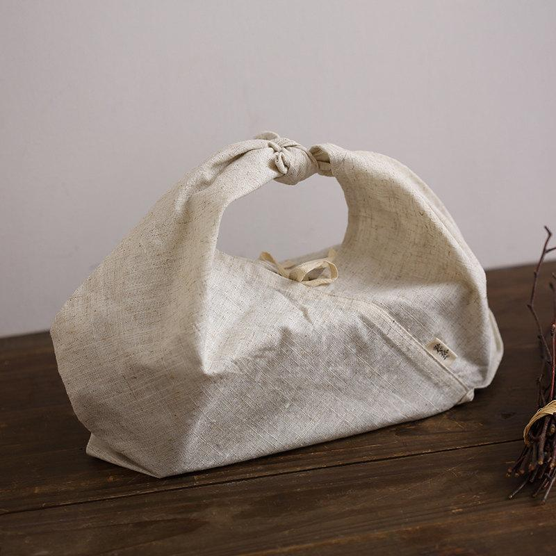 Hochzeit - 100 pieces Personalize LOGO rectangular base lunch bent box cotton linen bag wedding favor gift packaging reusable bag- xyhk48